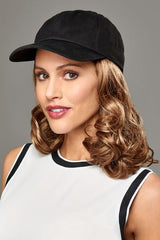 Curly Hat Black | Cotton Cap w/ Synthetic Hair