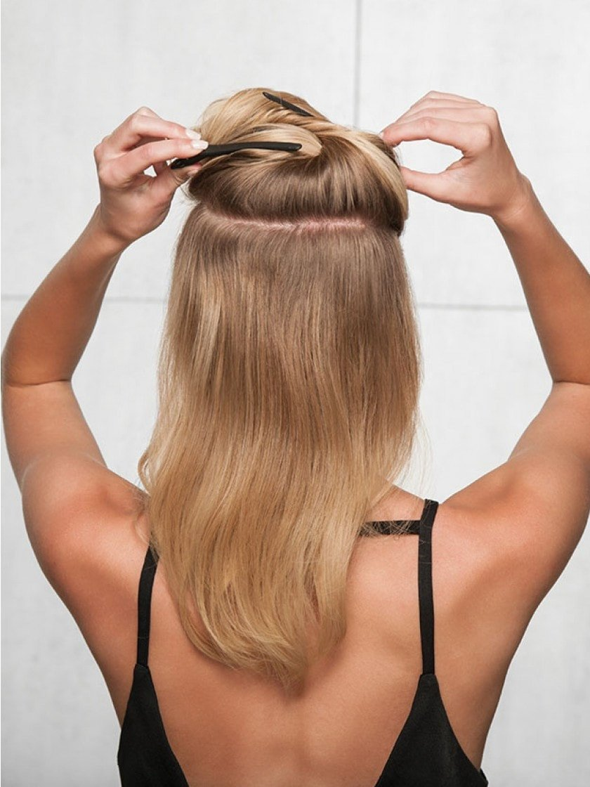 16 Sombre Clip In Hair Extension Heat Friendly Synthetic