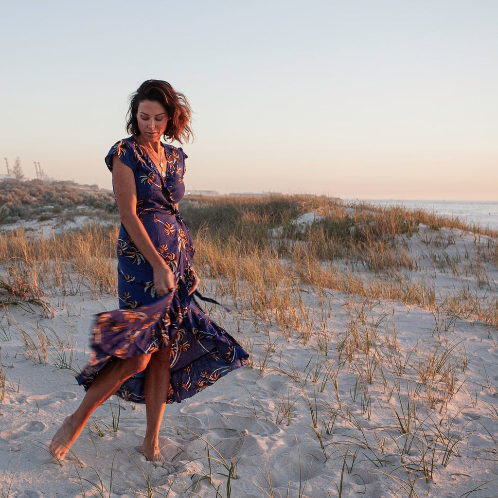 Esmeralda Wrap Dress in Palmy Print