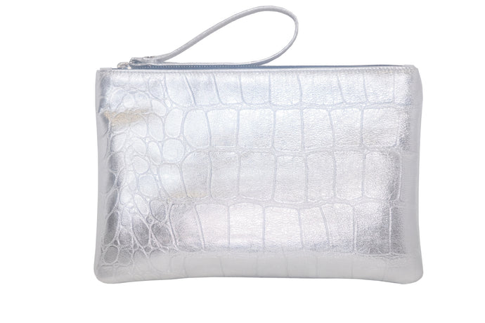 Callen Silver Embossed Croc Clutch with Wrist Strap