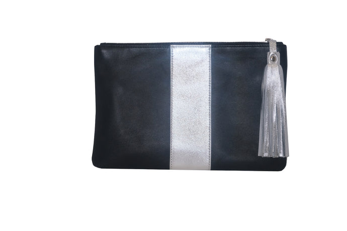 Leighton Clutch Black and Silver