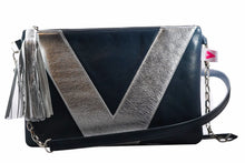 Navy and Silver Vienna Crossbody/Clutch
