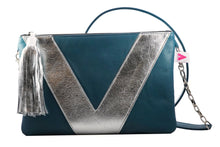 Slate Blue and Silver Vienna Crossbody/Clutch