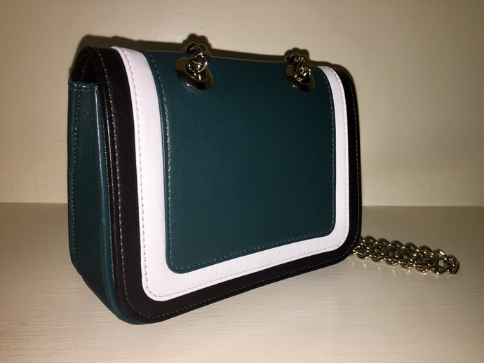 Ryland Cross Body Teal, White and Black