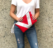 Red and Silver Vienna Crossbody/Clutch