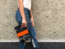 Tatum Camo Clutch Orange Stripe