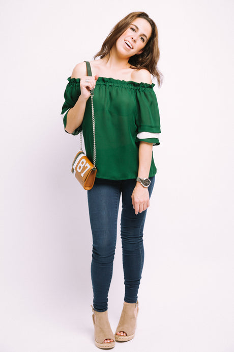 Emma Off-The-Shoulder Ruffle Sleeve Blouse