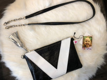 Metallic Black and White Vienna Crossbody/Clutch