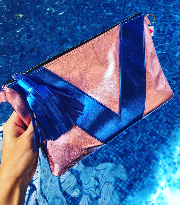 Light Pink Metallic and Cobalt Metallic Vienna Crossbody/Clutch