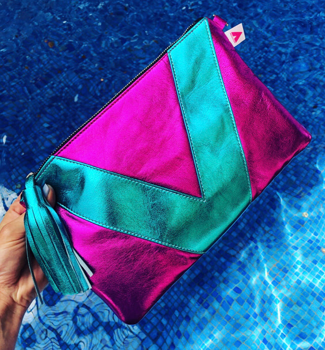 Magenta Metallic and Turquoise Metallic Vienna Clutch/Crossbody