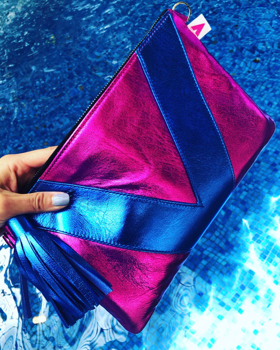 Magenta Metallic and Cobalt Metallic Vienna Clutch/Crossbody