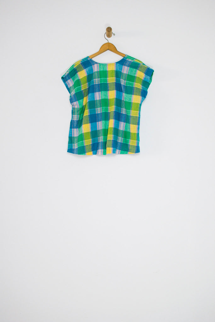 80's/90's PLAID BLOUSE WITH SMOCK POCKETS / MEDIUM