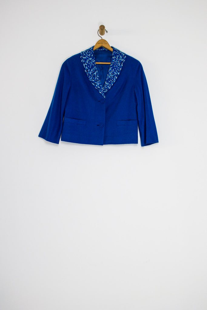 60's ROYAL BLUE JACKET WITH CUT OUT COLLAR SZ M