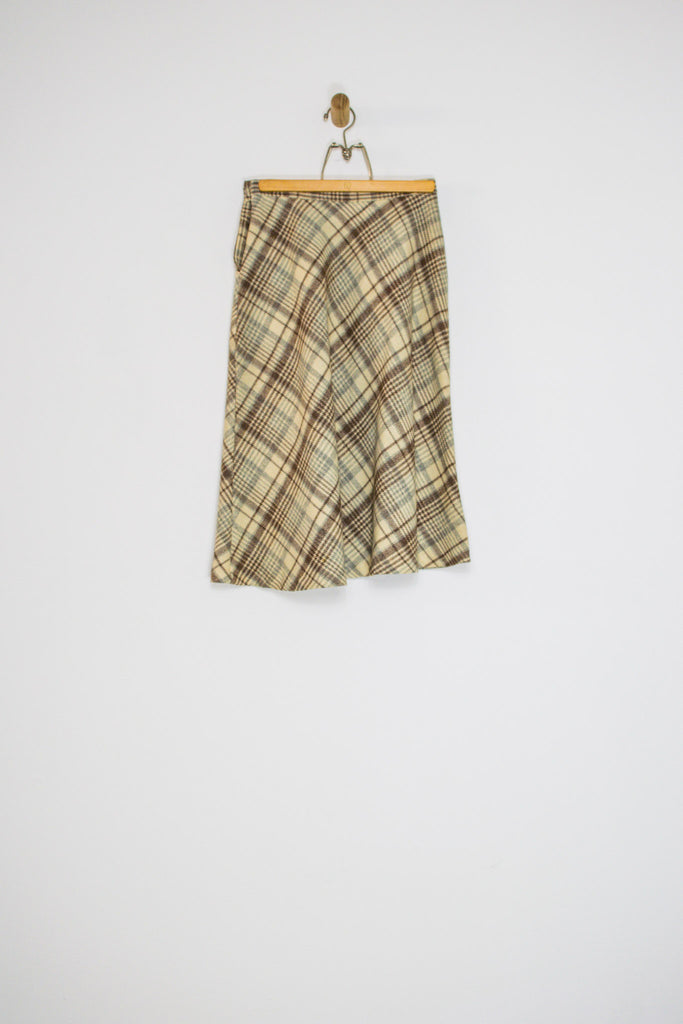 70's CREAM AND BROWN WOOL PLAID SKIRT / 26