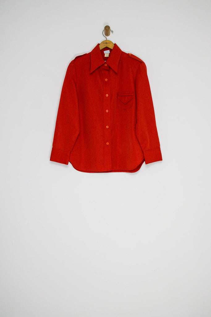 70's CHERRY BUTTON UP / MEDIUM