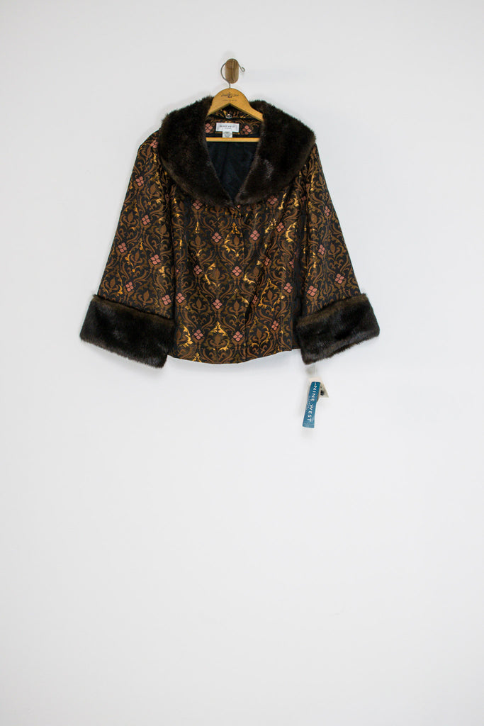 90's BROCADE JACKET WITH FAUX FUR / MEDIUM