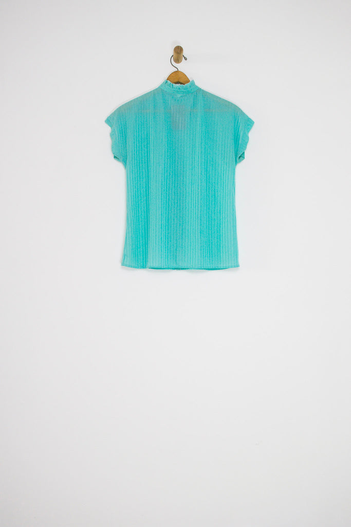 80's RUFFLE COLLAR BUTTON UP / MEDIUM