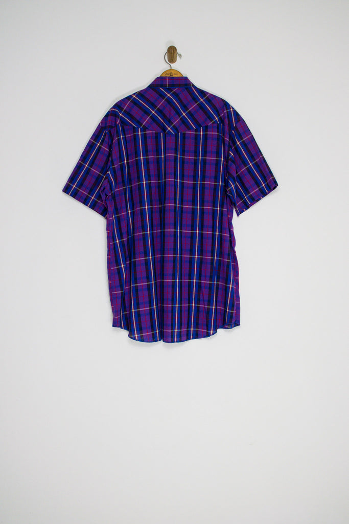 70's PURPLE WRANGLER PLAID BUTTON UP / EXTRA LARGE