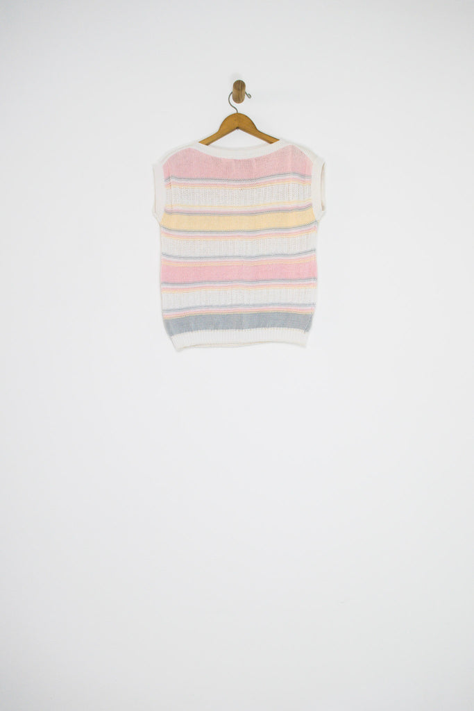 80's PASTEL STRIPED KNIT / SMALL