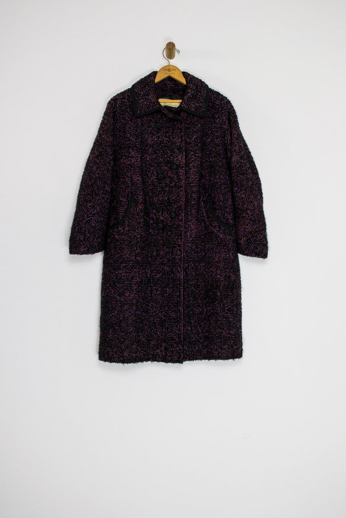 1950s/60's PINK AND PURPLE TWEED COAT / MEDIUM