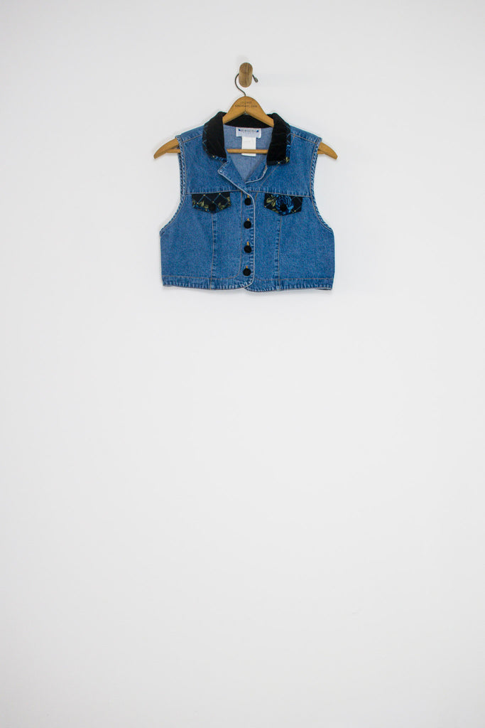 90's DENIM AND VELOUR VEST / SMALL