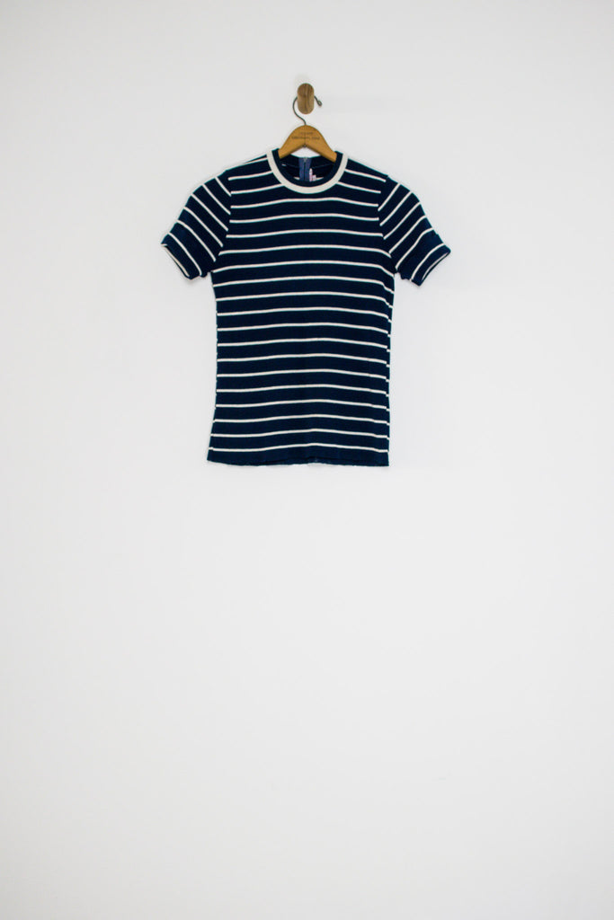 60's STRIPED KNIT T-SHIRT / SMALL