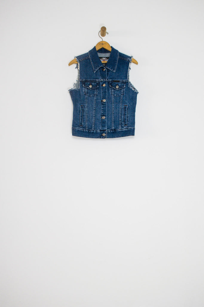 90's HARLEY DAVIDSON DENIM VEST / SMALL