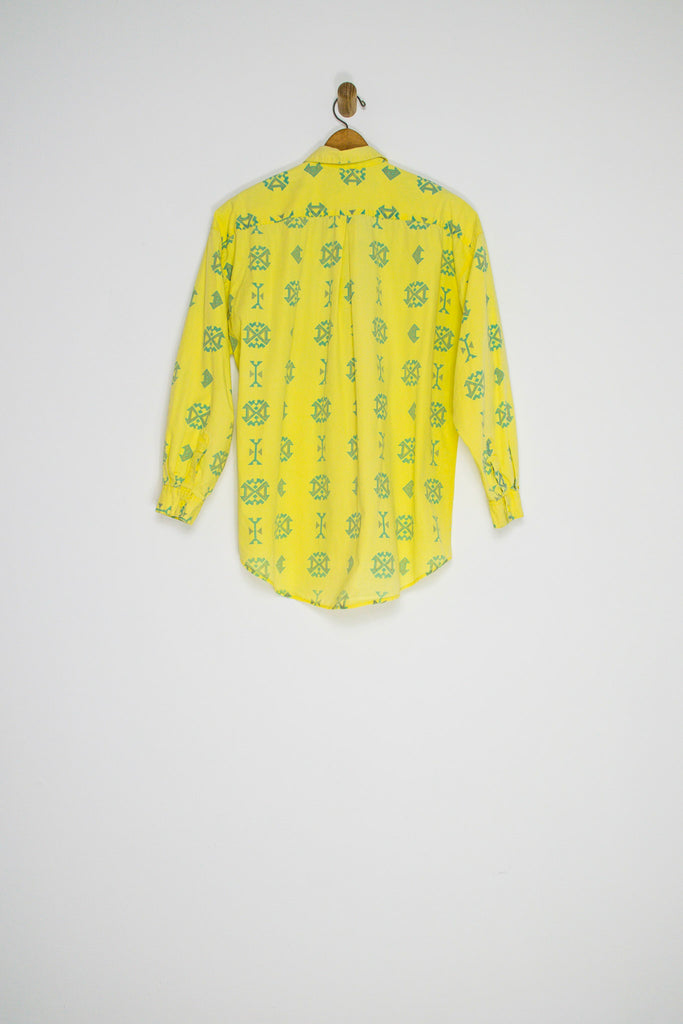 80's YELLOW BUTTON UP / MEDIUM