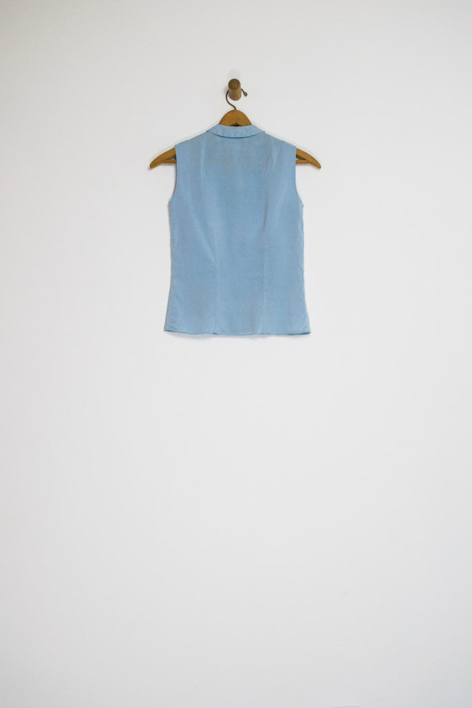 50's POWDER BLUE BLOUSE WITH COLLAR / EXTRA SMALL
