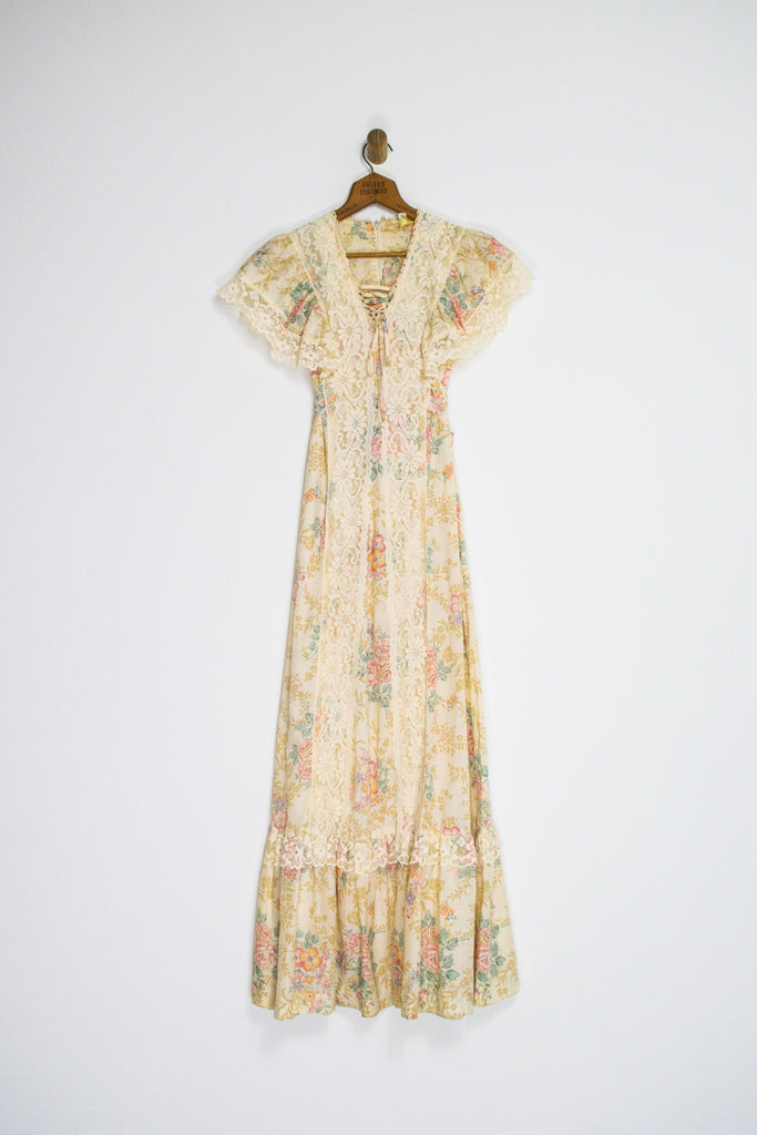 70's FLORAL AND LACE PRAIRIE MAXI / MEDIUM