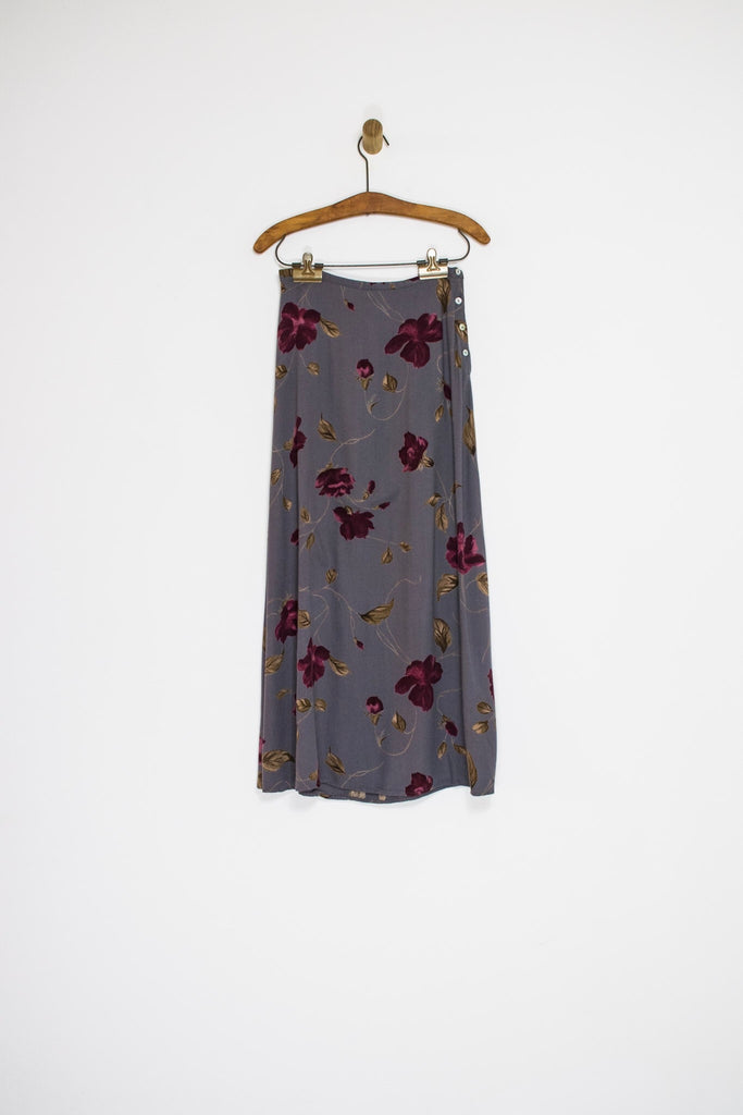 90's GREY FLORAL SKIRT / SMALL