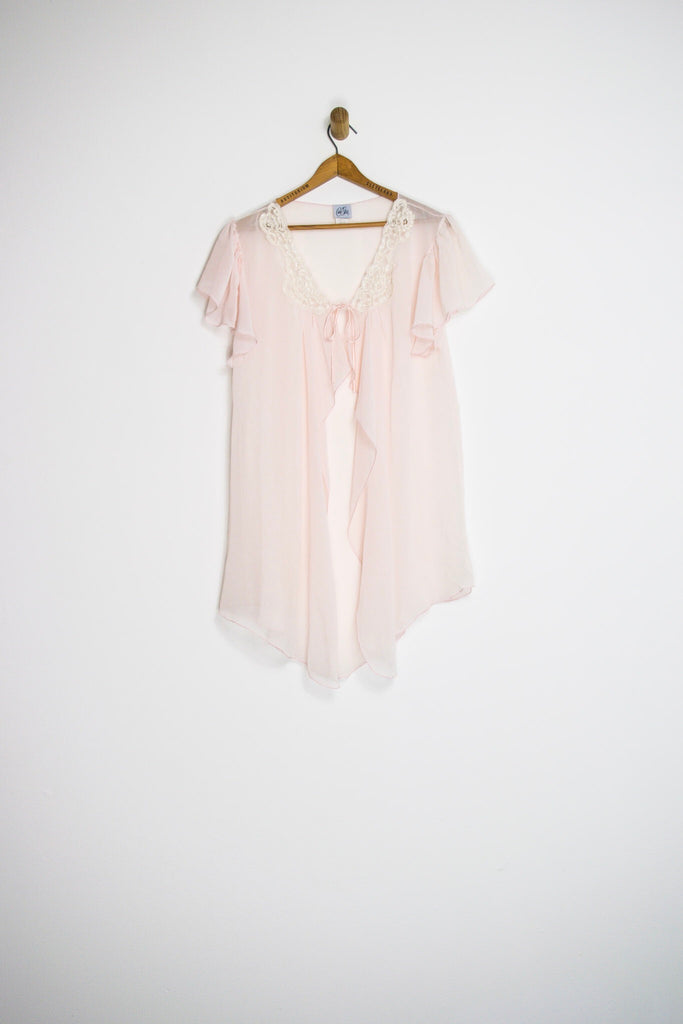 80's SHEER PEIGNOIR ROBE/DUSTER / MEDIUM