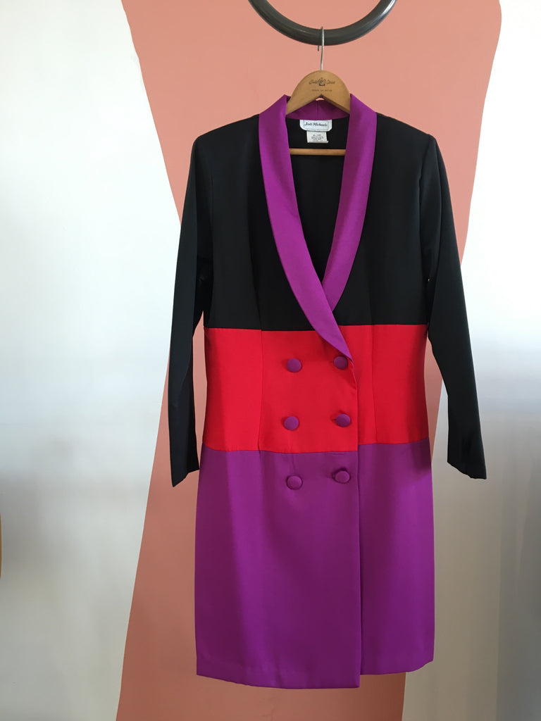 80's COLOR BLOCK COAT DRESS / LARGE