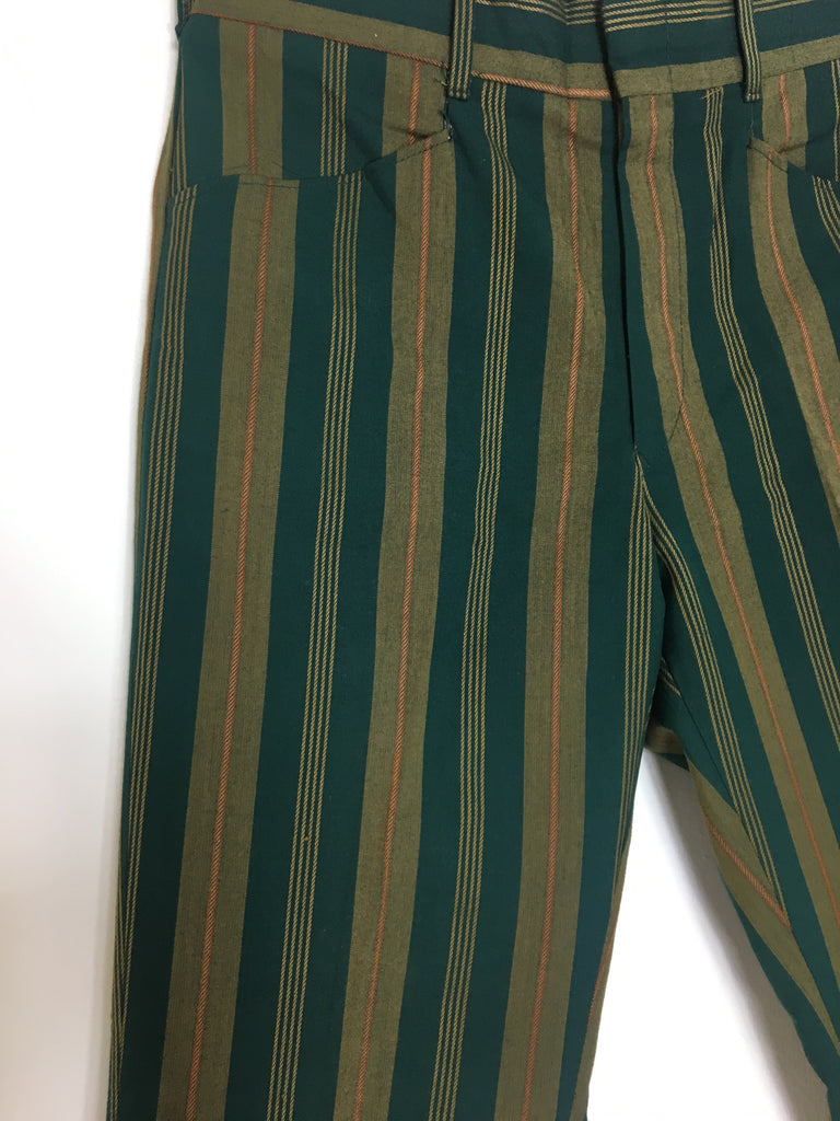 70's GREEN STRIPED TROUSERS SZ 31