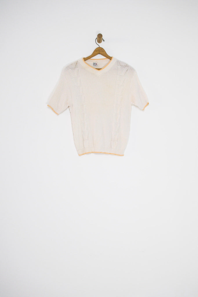 60's WHITE AND YELLOW KNIT SHORT SLEEVE SWEATER / MEDIUM
