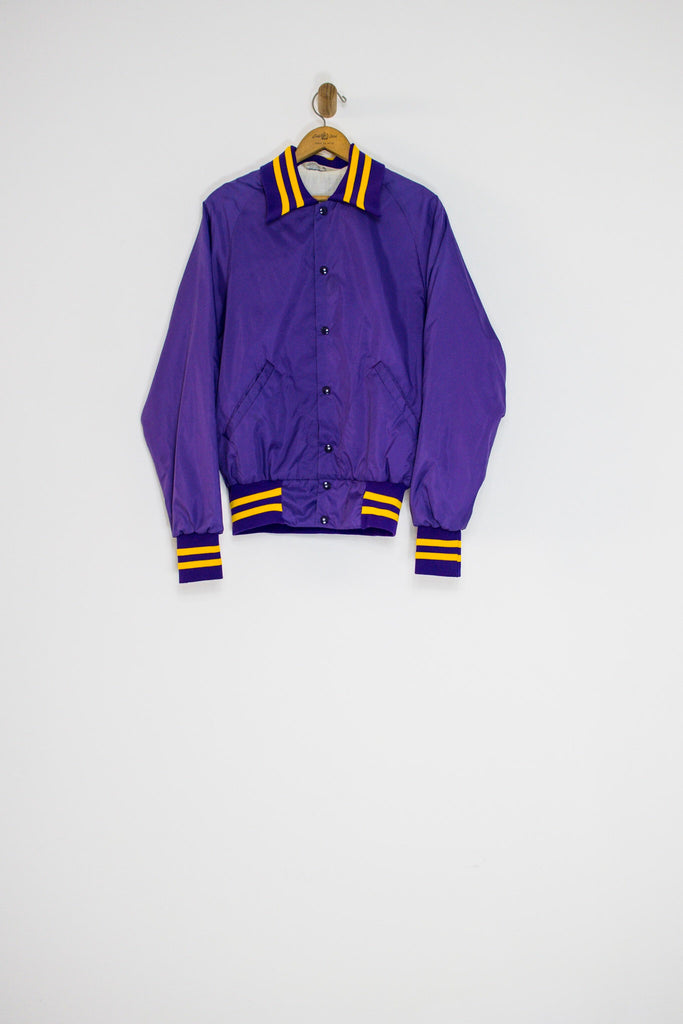 80's PURPLE AND GOLD NYLON JACKET / MEDIUM