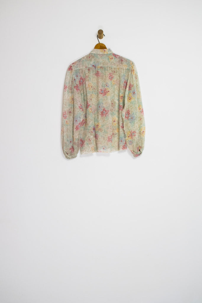 70's SHEER FLORAL BUTTON UP / MEDIUM
