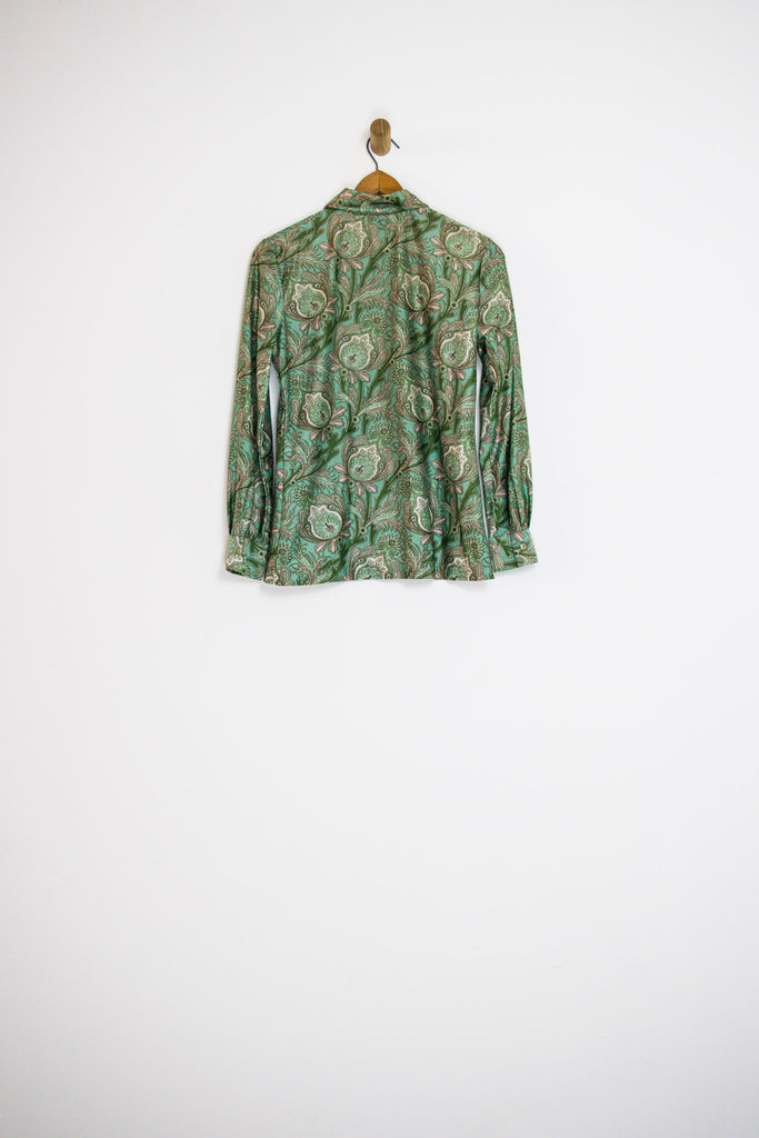 1970's GREEN PAISLEY BUTTON UP / SMALL