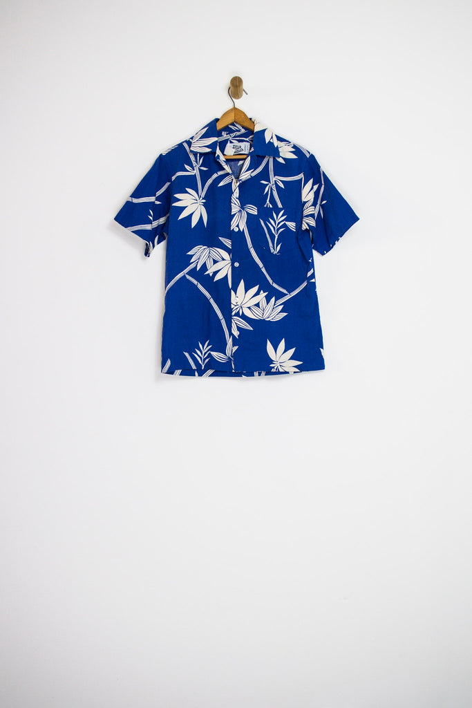80's BLUE HAWAIIAN SHIRT / MEDIUM