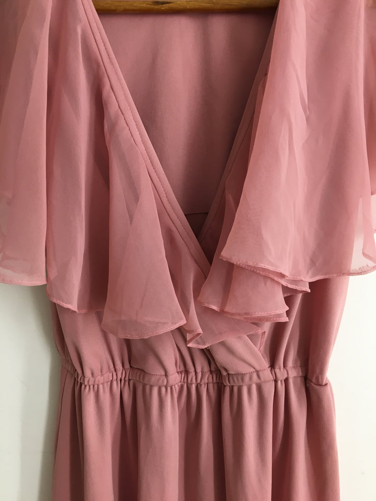 70's PINK MINI WITH SHEER CAPELET / SMALL