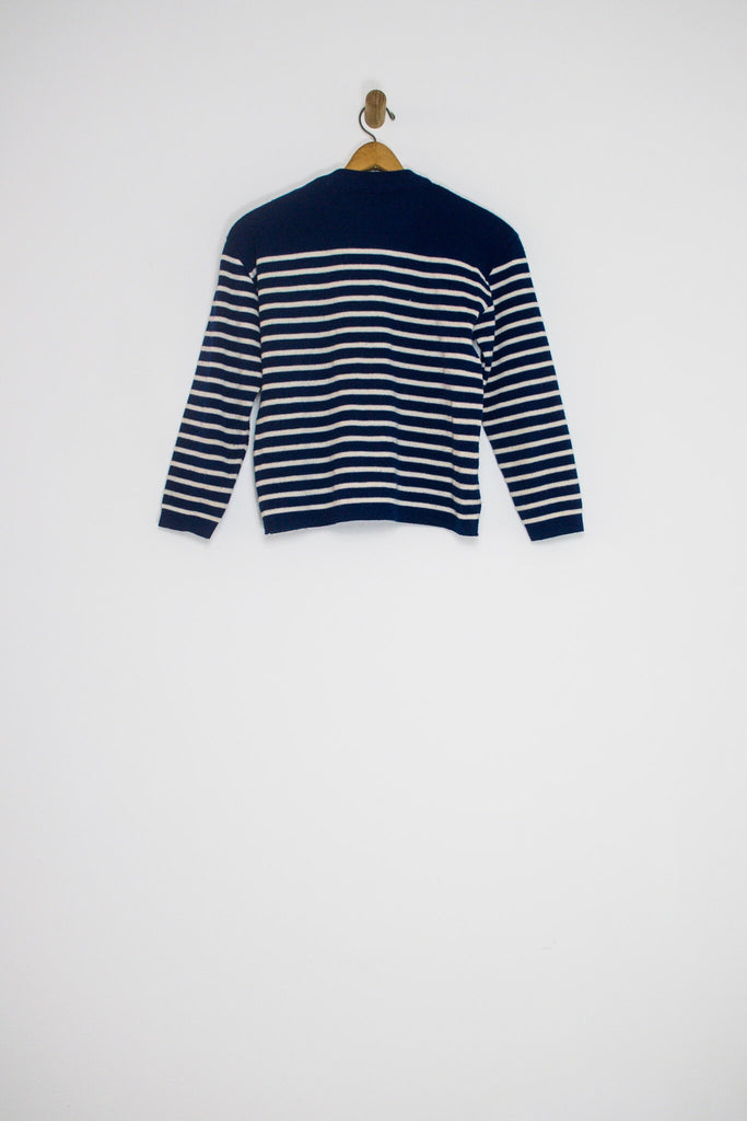 80's STRIPED PULLOVER SWEATER / SMALL