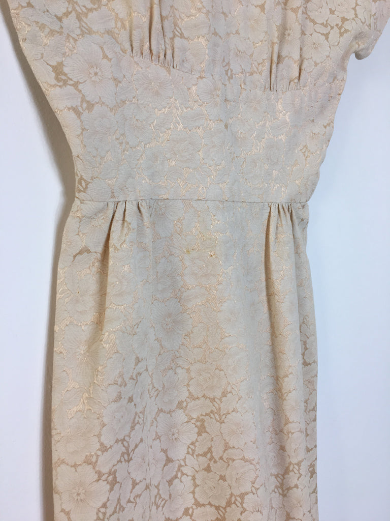 50's EMBROIDERED WIGGLE DRESS / SMALL
