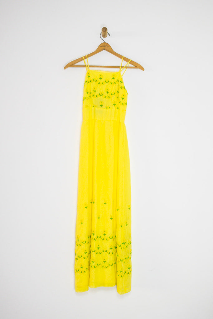 50's/60's EMBROIDERED YELLOW PARTY DRESS SZ XS
