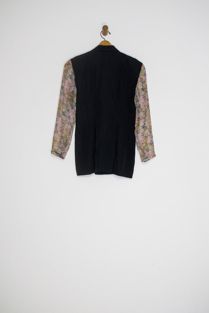 90's SHEER FLORAL SLEEVE BLAZER / MEDIUM