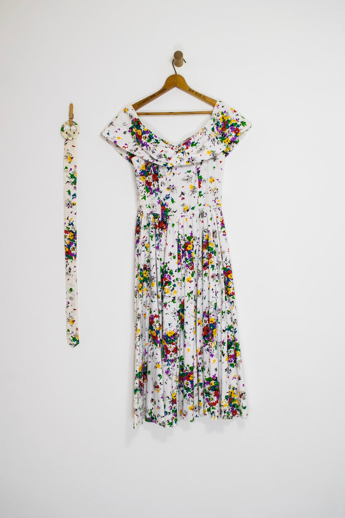 80's FLORAL PARTY DRESS / SMALL