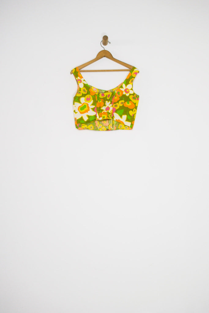 60's FLORAL BUTTON FRONT CROP TOP / MEDIUM