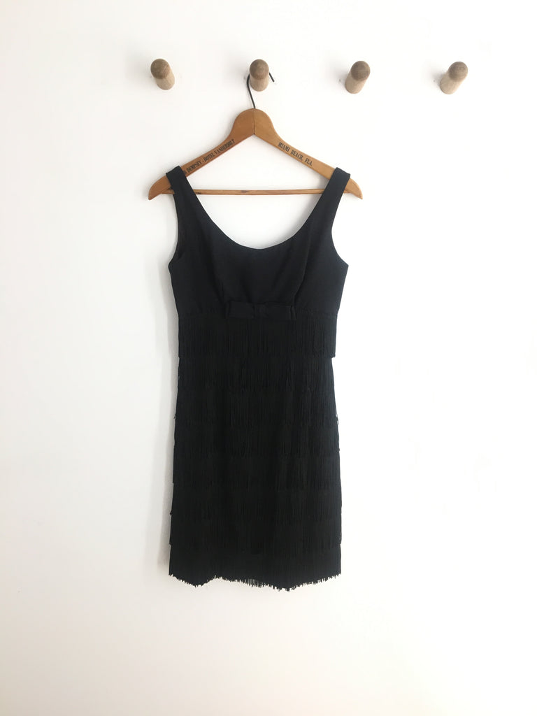 60's CREPE FRINGE DRESS / SMALL