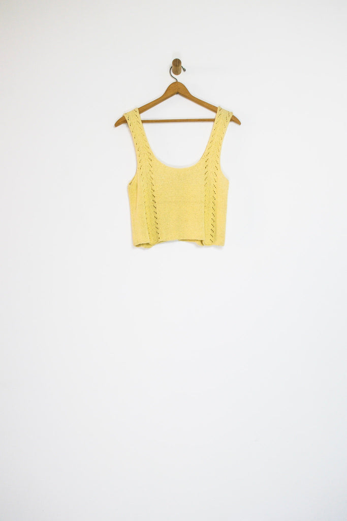 70's BUTTON KNIT TANK / MEDIUM