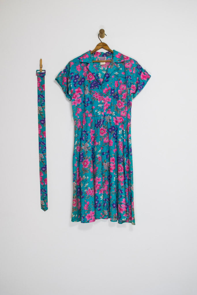 80's FLORAL SHIRT DRESS / LARGE