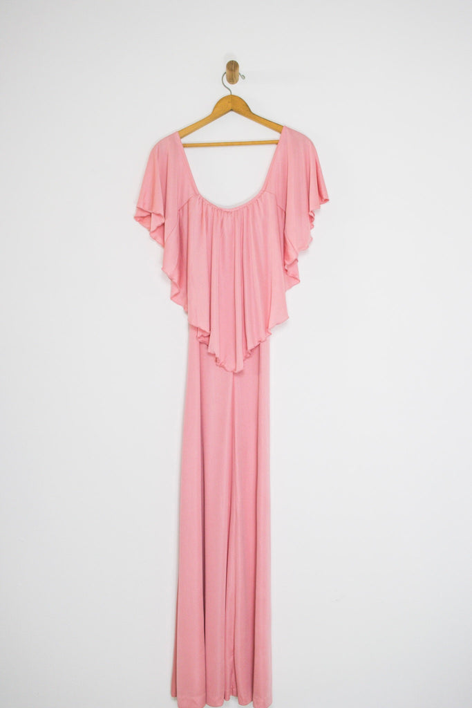 70's DRAPED CAPELET MAXI DRESS / MEDIUM